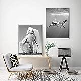 LIANGX Leinwand Bilder Poster Weißer Hai Schwarz Weiß
