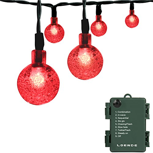 LOENDE Romantic Red Battery Operated String Lights, 21ft 30 LED 8 Mode Waterproof Globe String Lights for Valentines, Christmas Tree, Wreath, Wedding, Party, Patio Decor