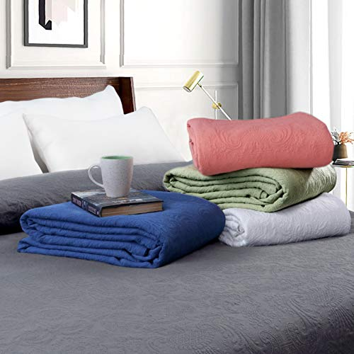 RICH&PRIDE Cotton Thermal Blanket King Size 440 GSM Jacquard Knit Matelasse Damask Quilted Blanket for Bed Cover/Bedspread Sofa/Couch (Charcoal, Twin)