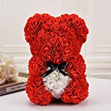 Hand Made -Teddy rose bear is made of artificial flowers as the basic element to form a bear-shaped design, which has both a romantic taste and a lovely shape. Perfect Gift Idea - This product is the best gift for anniversary, birthday, wedding, vale...