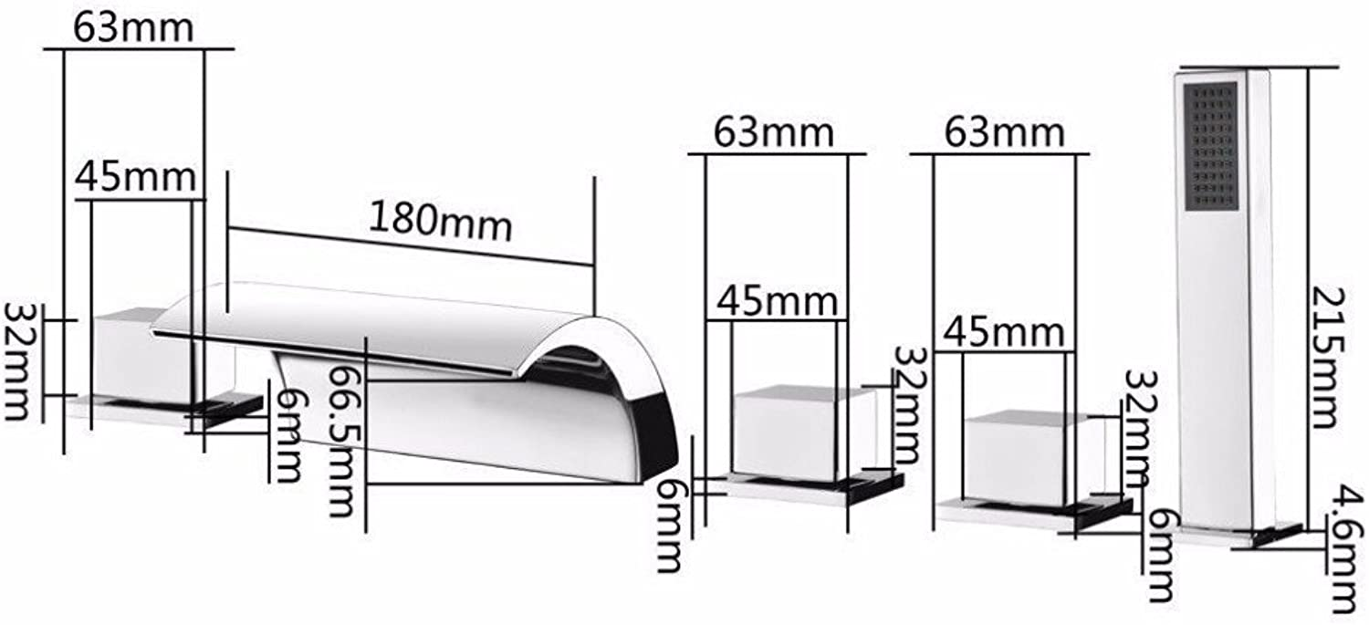 5 pcs Waterfall Gutter Bath Rooms, Glass Fitting Single Hand Set The Valve Cover + Handheld Shower Chrome Mounted on The Surface