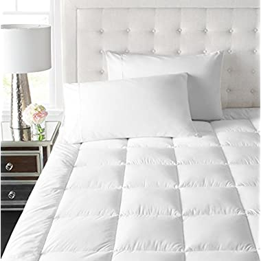 Park Hotel Collection 2 Inch Down Alternative Featherbed Mattress Topper - Ultra Plush 100% Long-Staple Cotton 2  Pillowtop Bed Topper/Pad - Hypoallergenic - Queen