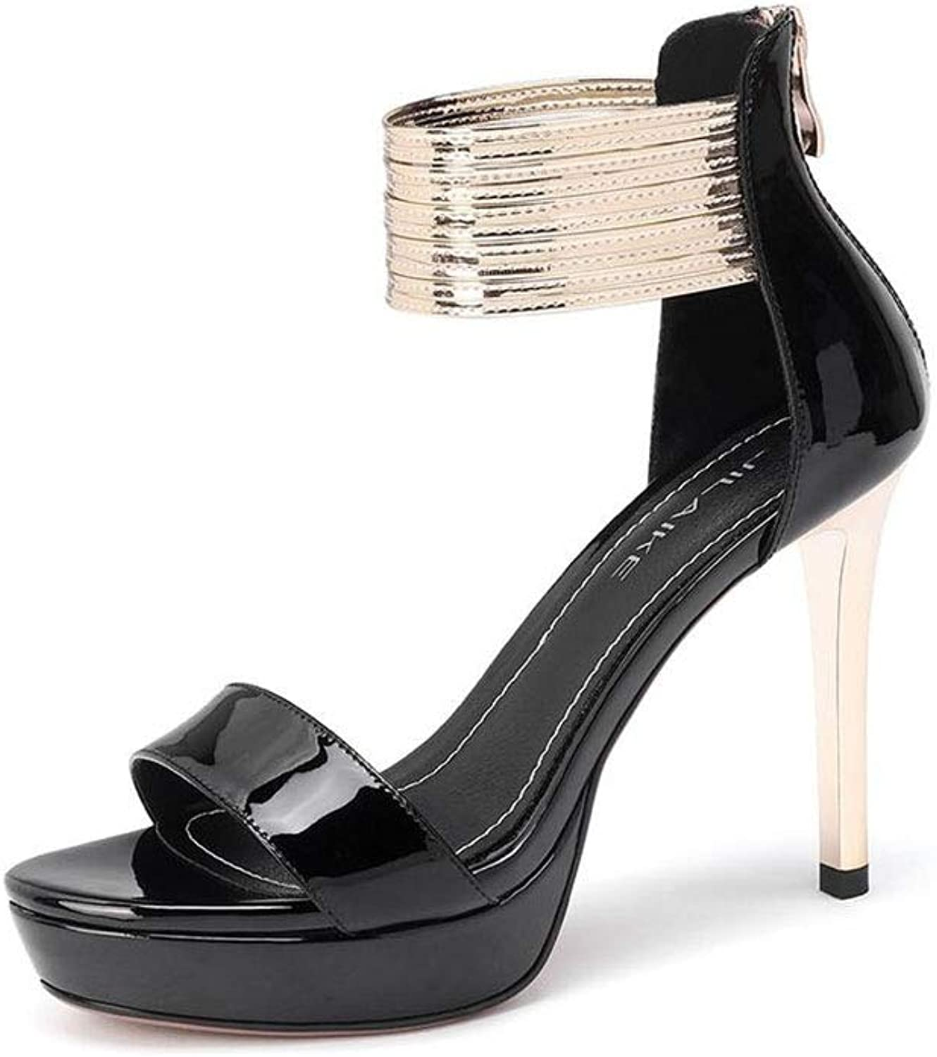Dtutti Sautope Seali Donne Open Toe Stiletto Tacco Alto Fibbia Strappy Seali da Sposa Partito di Sera (Coloree   nero, Dimensione   EU 37 UK 4.5-5 CN37)