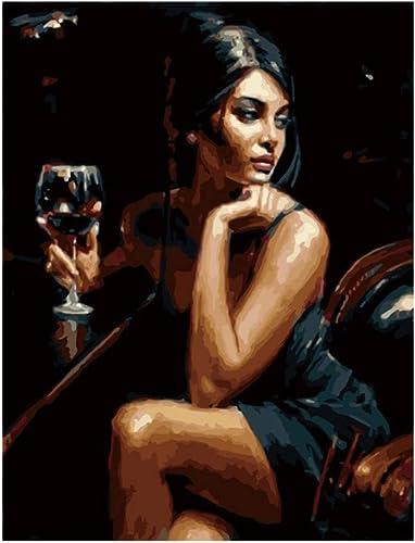 cómodamente mujer Bebiendo Pintura de Bricolaje Bricolaje Bricolaje por números Resumen Belle Girl Pintura al óleo sobre Lienzo Acrílico Arte de la Parojo Regalo, Enmarcado, 50X65 CM  tiendas minoristas