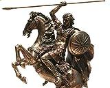 Figura de escultura de la estatua del rey griego de Alejandro de Veronese El Grande en Caballo, acabado bronce 31,5 cm