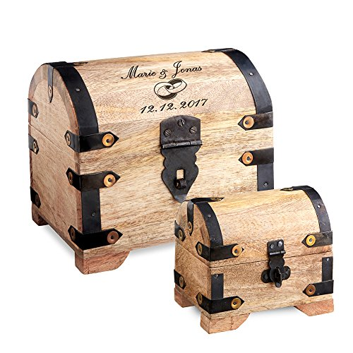 Casa Vivente Geschenkset zur Hochzeit, kleine und große Schatztruhe, Motiv Ringe, Personalisiert mit Namen und Datum, Verpackung für Geldgeschenke