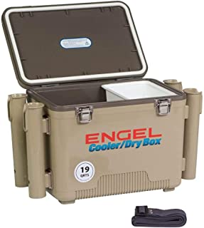 ENGEL Cooler/Dry Box with 4 Rod Holders - 19 Qt - Tan