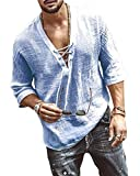 Onsoyours Camisas Hombre Casual Cuello V Slim Fit Sólido Playa Manga Larga Tops Blusa Camisa de Estilo Étnico Retro Otoño Hombre Azul XXL