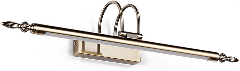 LED Kosmetikspiegelleuchte 9W Wandleuchte Nordic Metal Grün Bronze Spiegelleuchte Leuchten Wandleuchte 2 Arm mit einstellbarem Beleuchtungswinkel [Energieklasse A ++] (Farbe   Warm light)