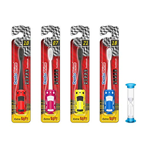 DentoShine ZIPPY Extra Soft Toothbrush for Kids (Ages 3+) (Red, Pink, Yellow, Blue, with 2 min Manual Timer, Pack of 4 designs)