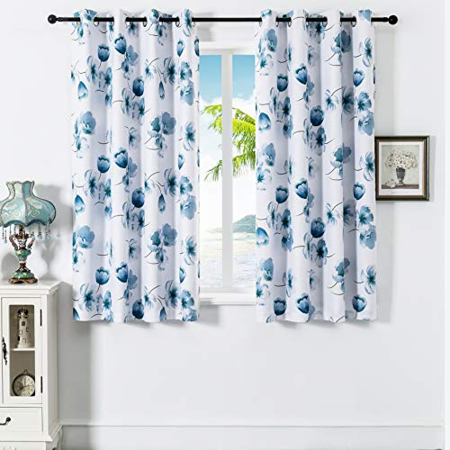 JUJOLY Mangnolia Blue Floral Blackout Thermal Insulated Grommet Lined Floral Window Curtains 63 inches Long, 2 Layers, Pair, Each 52 Inch by 63 Inch Ink Blue