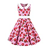 Pink Background Floral Strawberry Vintage Girls Dresses for Summer Playwear Sleeveless Doll Collar Kids Party Swing A-Line Girl Dress Casual Peter Pan Collar Size 6 7 Years Polka Dot 50s (3026 M)