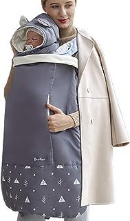 抱っこ紐ケープ 抱っこひもカバー 防寒 ベビーカー対応 ベビーを冷たい風からガード 保温性抜群 (新生児~3歳, グレー)