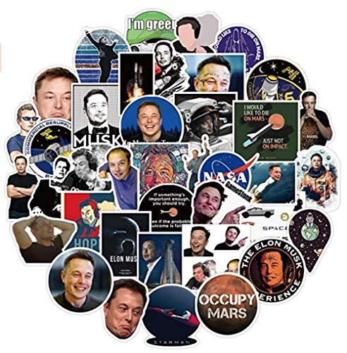 MDGCYDR Pegatinas Coche 100 Piezas Elon Musk Graffiti Pegatinas Caja De Equipaje S