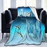 JOOCAR Mantas y mantas de franela manta para/sofá/cama manta de felpa linda pingüino felpa mullida manta regalo para bebé niña niño papá mamá