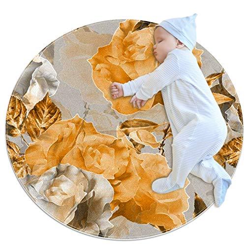 huhulala Alfombra de arrastre para bebé, de varios tamaños, redonda, para gatear, para juegos de piso, para decoración de habitación, flores amarillas