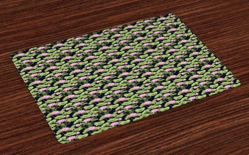 Hokdny Juego de 4 manteles Individuales Lotus con diseño de Flor botánica con Hojas Grandes y Flores Manteles Individuales de Tela Lavable para Mesa de Comedor, tamaño estándar, Verde Pistacho, Rosa