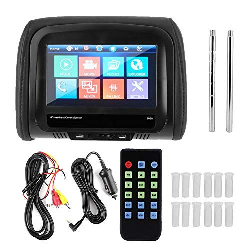 Tbest Auto Kopfstützen Monitor, Universal Autokopfstützenmonitor 8 Zoll Auto DVD Player Kopfstützenmonitor MP5 Video Media Player HD Fahrzeugzubehör mit Fernbedienung(Schwarz)