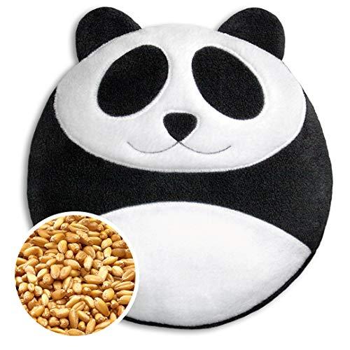 Leschi COUSSIN CHAUFFANT soulage les maux de dos et de ventre/bouillote pour micro-ondes/coussin en graines de blé pour femmes, enfants et bébés (coliques) / Panda Bao, noir blanc