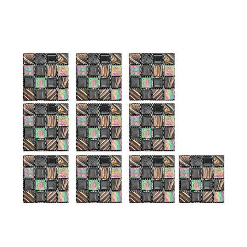 LGLG Adhesivo 3D para azulejos – Mosaico de baño lámina para cocina – 10 x 10 cm – 10 unidades