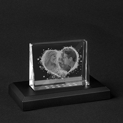 Personello® Foto in Glas graviert, Herz Motiv, Fotogeschenk, Größe S=80x60x25mm, mit LED Leuchtsockel