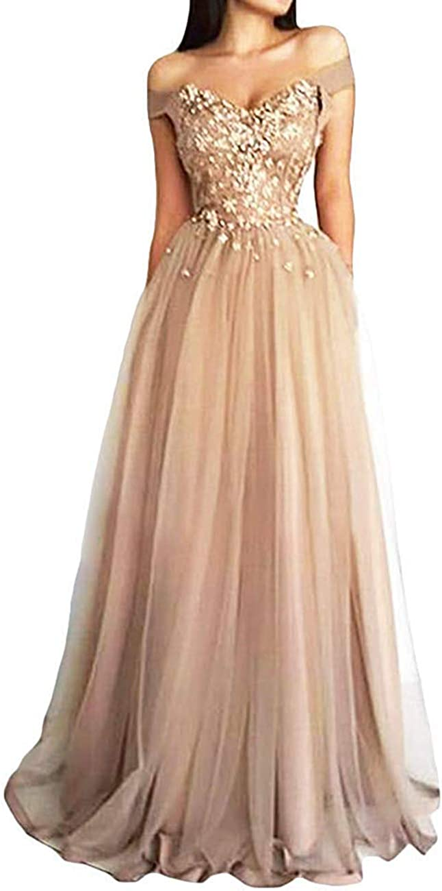 Prom Dress Lace Formal Evening Gowns Long Off Shoulder Tulle Prom Dresses Lace Evening Party Dress Appliques