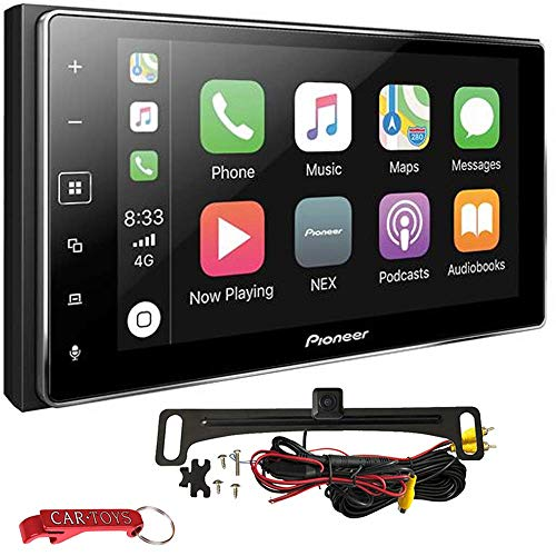 """Pioneer MVH-1400NEX Apple CarPlay Car Stereo Bundle with Voxx Backup Camera. 6.2"""" Double-DIN Bluetooth Multimedia Receiver with Capacitive Touchscreen. SiriusXM, Maestro, Pandora and Spotify Ready"""