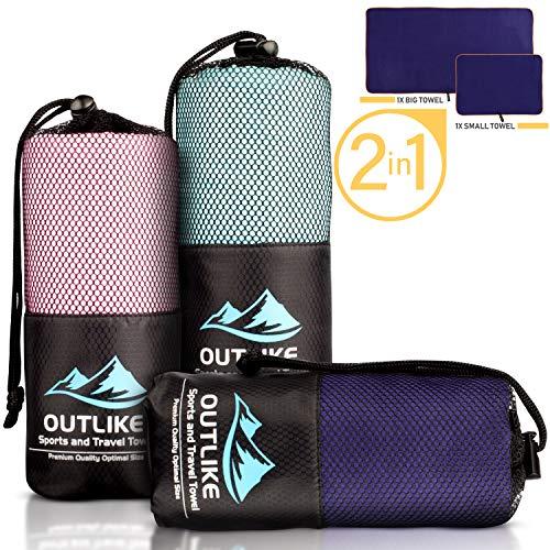 Outlike Mikrofaser Reisehandtuch 2er Set - Leichte Schnell Trocknende Antibakterielle Handtücher für Fitnessstudio und Sport in Kompakter Größe (Blau)