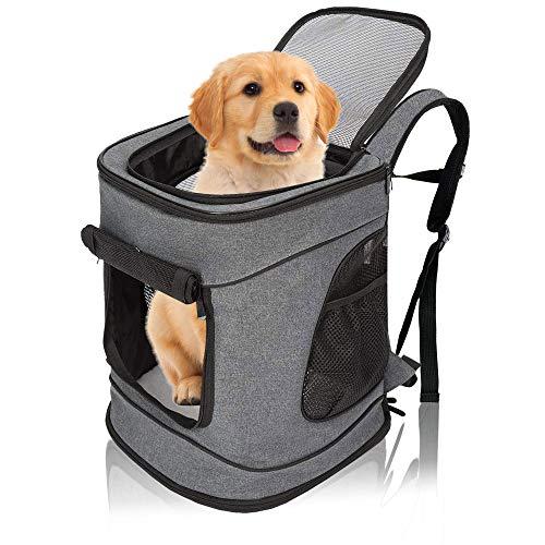 Arkmiido Haustier Rucksäcke für kleine Hunde Katzen Welpen, oben offen Weiche Seite Atmungsaktives Netz für Reisen Camping im Freien, abnehmbare Vliesmatte
