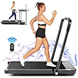 FUNMILY 2 in 1 Under Desk Folding Treadmill, 2.25HP Walking Jogging Running Machine for Home/Office/Gym Fitness, Built-in 5 Workout Modes & 12 Programs, Installation-Free, Black (2020 New Model)