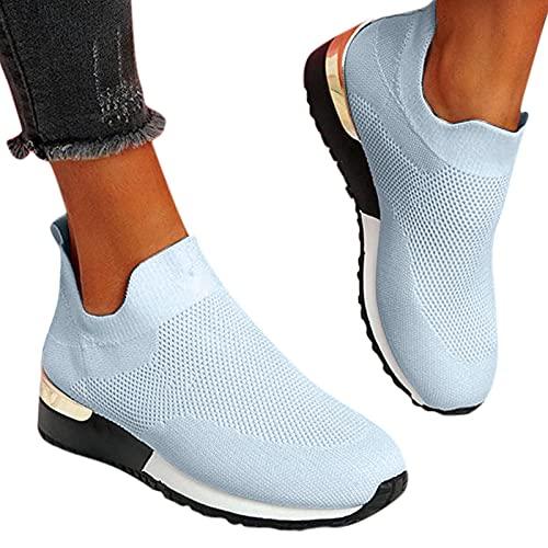 Dasongff Damen Schuhe Slip On Sneakers Freizeit Atmungsaktive Fitness Turnschuhe Plattform Air...