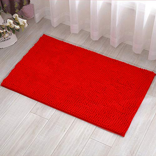 Eanpet Chenille Bath Mat Non-Slip Microfiber Floor Mat Baby Bath Mat for Kids Ultra Soft Washable Bathroom Dry Fast Water Absorbent Shower Mat Area Rugs (20' x 32', Red)