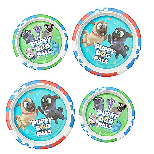 24 Decorations for Puppy Dog Birthday Disposable Plates, Birthday Party Supplies Decorations 9 Inch and 7 Inch