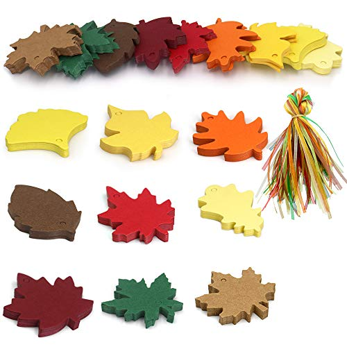 180PCS Thanksgiving Gift Tags, 9 Styles Colorful Maple Paper Leaves Gift Tags Perfect for Fall Wedding Party Favors Tags,Christmas Escort Cards Wishing Tree Tags