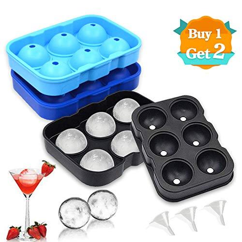 BaiWay Eiskugelform, 3 Stück Silikon Eiswürfelform für 18 Runde 45mm Eiskugel LFGB Zertifiziert BPA Frei Eiswürfelschale mit einem Trichter Ice Ball Mold für Whisky, Cocktails, Saft, Schokolade