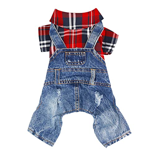 Companet Pet Clothes Dog Outfits Jumpsuit Ombre Black/Red Plaid Shirt Top with Overalls Puppy Clothes Dog Costume Beige Jeans Pants Jumpsuit for Small Dog