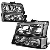 4PCS Black/Clear Headlights + Bumper Lamps Compatible with Chevy Silverado Avalanche 03-06 (w/o Factory Cladding)