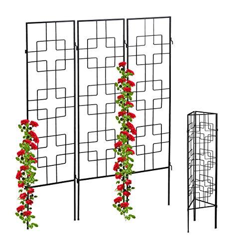 Relaxdays Treillis, métal, Lot de 3, tuteur pour Plantes grimpantes, 122 x 30,5 cm, Jardin, Noir