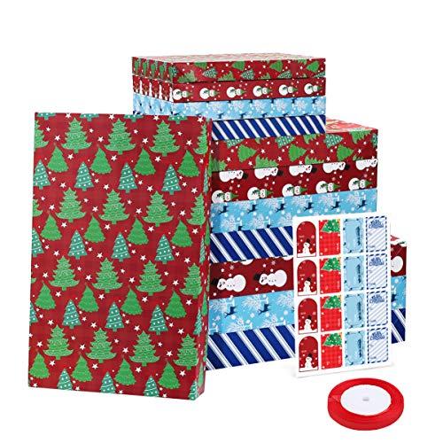 Cabilock 12 Stück 3 Verschiedene Größen Weihnachtsgeschenkbox Geschenkboxen mit Deckel Kraftpapierboxen Geschenkkarton mit Bänder und Aufkleber für Hochzeit Weihnachten Geburtstagsgeschenk
