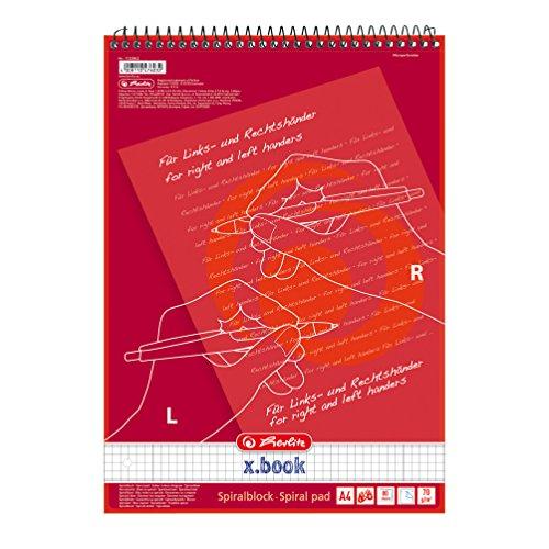 Herlitz 11325842–Cuaderno para ambidiestros, zurdos y diestros, A4, línea 28 (cuadriculado con 2márgenes), 80hojas, 5unidades