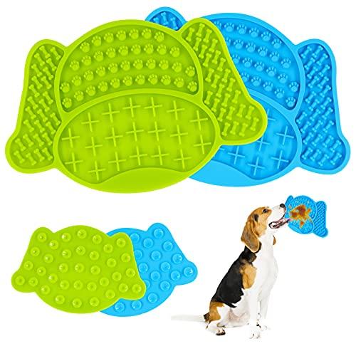 AGAKY Tappetini da Leccare i Cani,2 pezzi Dog Lick Pad Silicone con Potente Ventosa Tampone da Leccare per Animali Domestici Slow Feeder,Per il Bagno,la Toelettatura e l'Addestramento del Cane