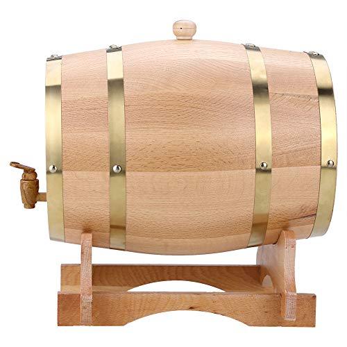 Vino Barril Madera de Roble, Dispensador de Barril de Madera Retro 3L/5L/10L para Almacenar Vino, Brandy, Whisky, Tequila (10L)