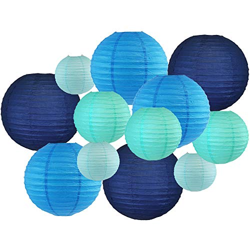 Just Artifacts Decorative Round Chinese Paper Lanterns 12pcs Assorted Sizes & Colors (Color: Blues)
