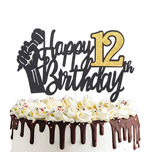 Happy 12th Birthday Cake Topper with Microphone Cheers to 12 Twelve Years Old Party Decoration Twelfth Birthday Cake Decor