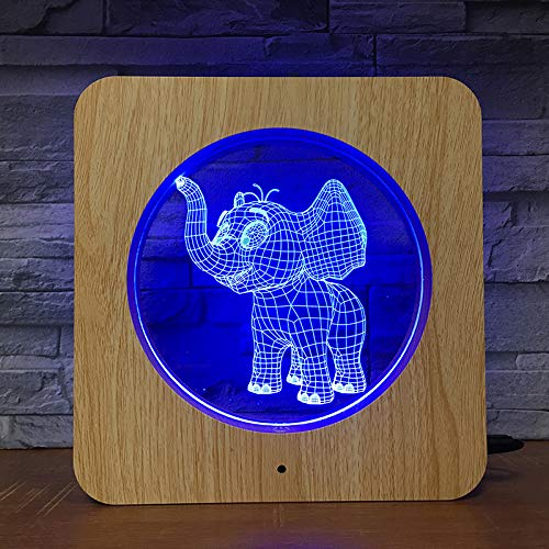 Jiushixw 3D acryl nachtlampje met afstandsbediening, kleur tafellamp, olifant, fotolijst, kind, verjaardagscadeau, druppel, dennenlampje
