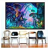 Bricolaje Colores Números Pintado Digital Pintura Lienzo Painting Kits Seta Psicodélica De Dibujos Animados Casa Abstracta Hada Regalo Para Niños-60X80cm