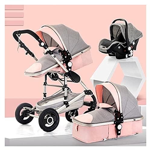 CHFQ Cochecito Compacto, Cochecito para niños pequeños 3 en 1, Cochecito para recién Nacidos Cochecito de bebé High Landscape, Cochecito de bebé para 0-36 Meses Carrito de bebé (Color: Rosa)