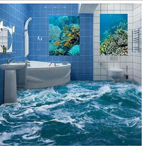 Zxwd Papel Tapiz Mural De Suelo 3D Personalizado Baño De Olas De Agua De Mar Papel Tapiz De Vinilo De Suelo 3D Decoración Para El Hogar-120X100Cm