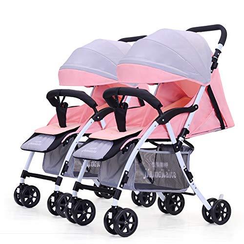 TY-Baby trolley Mmm @ Poussette jumeau, Chariot de bébé Pliable léger détachable de Double Chariot Infantile Chariot ( Color : Pink+Gray )