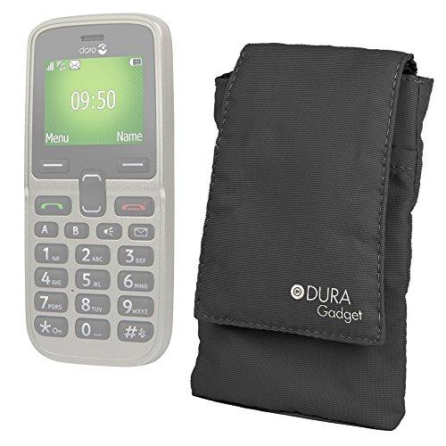 DURAGADGET Schutzhülle für Smartphones Doro 5030 / Doro 5516 / Doro 6530 / Dora 820 Mini Claria/Doro PhoneEasy 745, gepolstert, mit Gürtelschlaufe, Schwarz